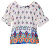 My Michelle mymichelle Printed Cold Shoulder Bell Sleeve Top (Big Girls)