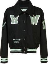 Off-White printed bomber jacket - men - Polyamide/Wool - S