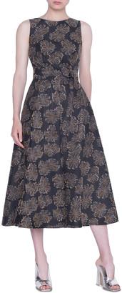 Akris Punto Desert-Flower Jacquard Midi Dress