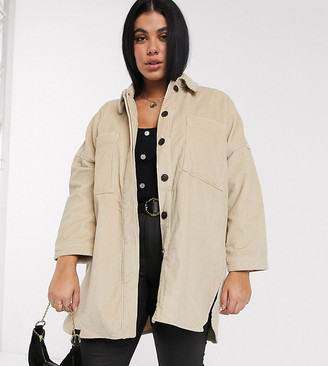 Vero Moda Curve longline cord jacket in cream