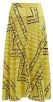 Ganni Hemlock Bandana-print Silk-blend Skirt - Womens - Yellow Multi