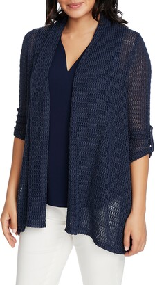 Chaus Rolled Sleeve Loose Knit Cardigan