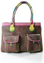Etro Multi Color Leather Paisley Print Embossed Detail Tote Handbag