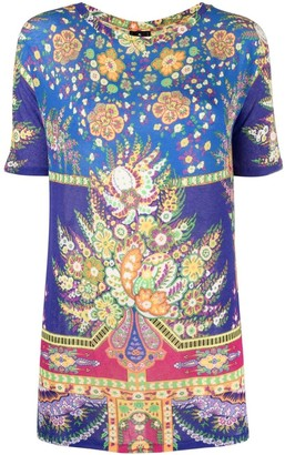 Etro floral-print cropped-sleeves T-shirt