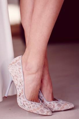 Little Mistress Blue Lace Pointed Court Shoe