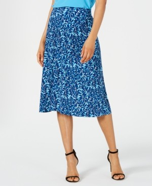 Kasper Summer Leaves Printed Pull-On Skirt