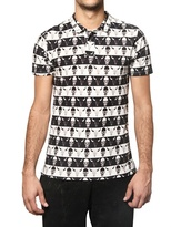 Dead Meat Skulls Print Piquet Cotton Jersey Polo