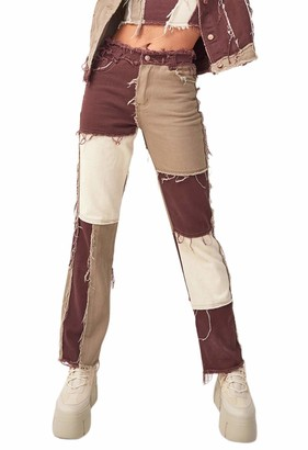 usmley Womens Patchwork Jeans High Waist Vintage Straight Denim Trouser (Brown XS)