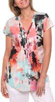 Cap Sleeve Palm Print Shirt