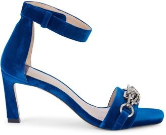 Stuart Weitzman Link Chain-Embellished Velvet Sandals