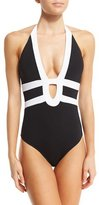 Jets Classsique Contrast Halter One-Piece Swimsuit, Black