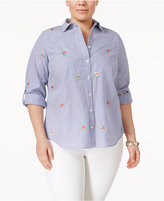 Charter Club Plus Size Cotton Embroidered Shirt, Only at Macy's