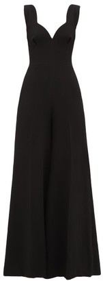 Emilia Wickstead Rosabel Sweetheart-neckline Wool-crepe Jumpsuit - Black