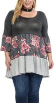 Celeste Charcoal Floral-Accent Layer Tunic - Plus