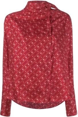 Fendi Karligraphy motif foulard collar blouse
