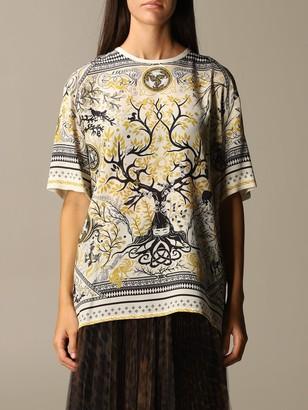 Roberto Cavalli Silk Sweater With Oneiric Scarf Print