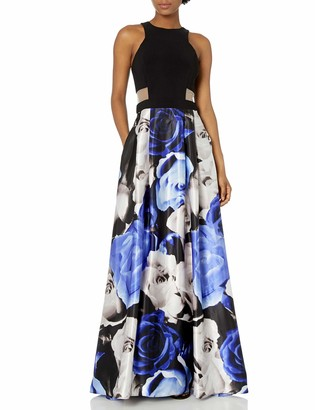 Blondie Nites Women's Printed Ballgown with mesh Cutout Sides
