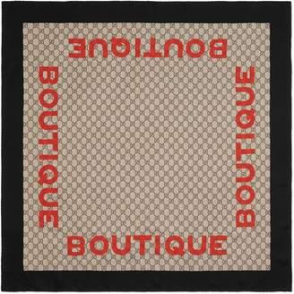 Gucci Boutique print silk scarf