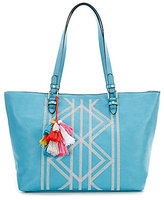 Kate Landry Tasseled Tribal-Embroidered Tote
