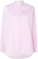 Victoria Beckham striped band collar shirt - women - Cotton - 8
