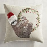 Pier 1 Imports Embroidered Holiday Sloth Pillow