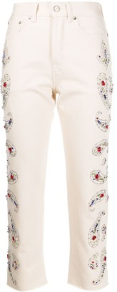 Golden Goose Paisley-Embellished Cropped Jeans