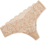 Commando Double Take Cross-Dyed Lace Thong, Ivory