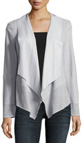 Neiman Marcus Draped Suede Jacket w/ Perforated Trim, Mist Blue