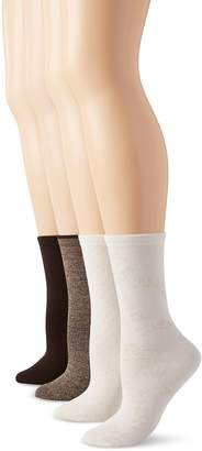 Peds Women's Assorted Coffee Bean Khaki and Ivory with Tan Spiraling Floral and Dot Ladies Dress Crew Socks 4 Pairs