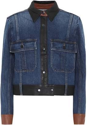 Frame Leather-trimmed denim jacket