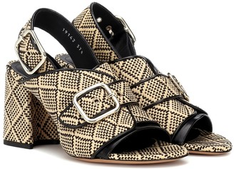 Dries Van Noten Raffia leather-trimmed sandals