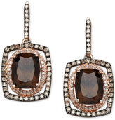 Macy's Smoky Quartz (3-3/4 ct. t.w.) and Diamond (1/2 ct. t.w.) Drop Earrings in 14k Rose Gold and Black Rhodium-Plate