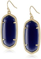 Kendra Scott Signature Elle Earrings in Gold Plated and Navy Glass