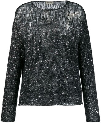 Saint Laurent Open-Knit Sequin Embellished Jumper