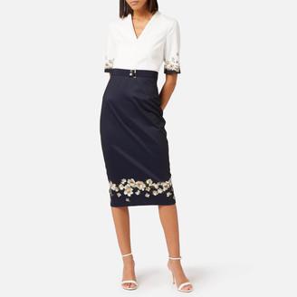Ted Baker Women's Avii Pearl V Neck Bodycon Dress - Dark Blue - UK 8