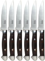 Viking Professional Black Pakka Wood 6 Pc Steak Knife Set w/Bamboo Box