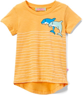 SAM. Sophie & Girls' Tee Shirts Yellow - Yellow Dolphin Waves Applique Hi-Low Tee - Infant, Toddler & Girls