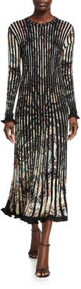 Etro Starry Night Pleated Paisley Dress