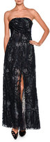 Giorgio Armani Floral Strapless Beaded Gown, Charcoal/Multi