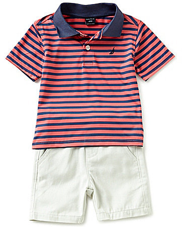 Nautica Baby Boys 12-24 Months Striped Short-Sleeve Polo Shirt & Pull-On Shorts Set