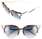 Fendi Women's Crystal 52Mm Tipped Cat Eye Sunglasses - Havana Gold Vio/ G5