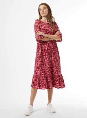 Miss Selfridge Burgundy Spot Print Midi Skater Dress