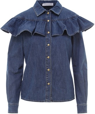 Philosophy di Lorenzo Serafini Philosophy Di Lorenzo Ruffle Detail Denim Shirt