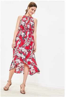 Oasis TROPICAL FLORAL WRAP DRESS IN MULTI RED