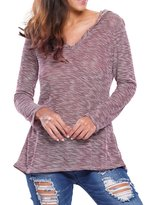 VintageRose Womens Hooded V-Neck Long Sleeve Loose Knitted Sweater Top