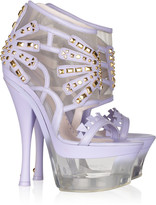 Versace Studded leather and Lucite platform sandals