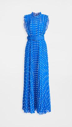 Self-Portrait Polka Dot Chiffon Maxi Dress