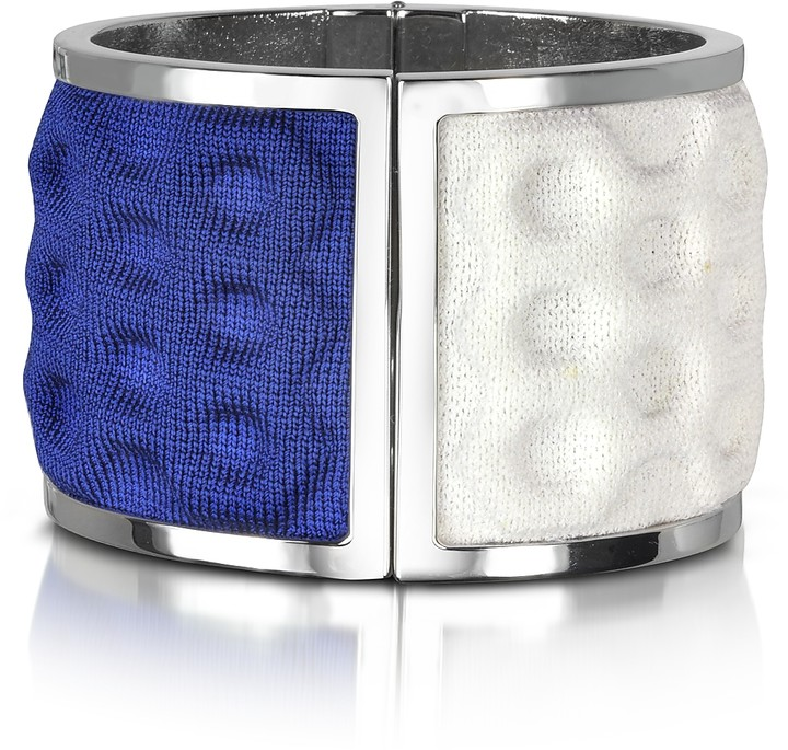 Palladium Avril 8790 Plated Brass and White and Blue Viscose Bangle
