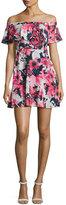 Black Halo Penelope Off-the-Shoulder Floral Circle Dress, Multicolor
