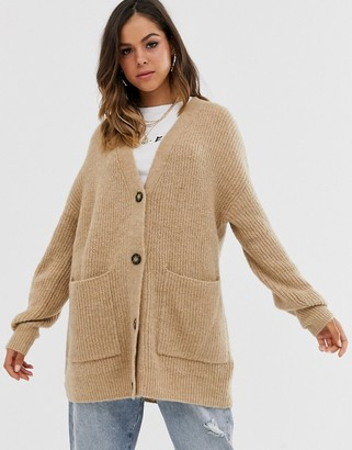 New Look long line button front cardigan in camel-Tan